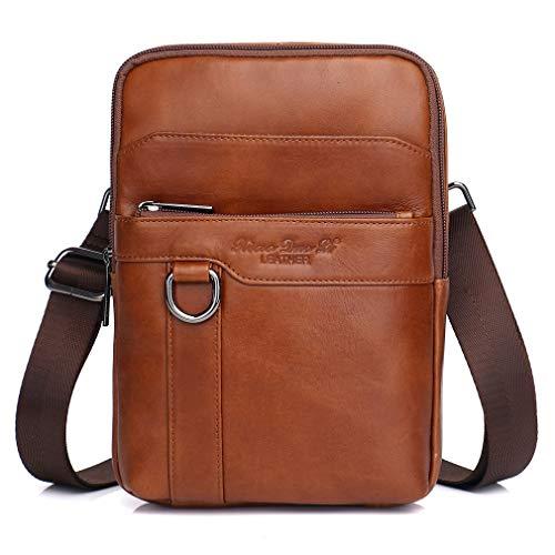 Xieben Vintage Leder Schultertasche Messenger Bag für Herren Travel Business Small Crossbody Pack Wallet Handytasche Handtasche Tasche Braun -