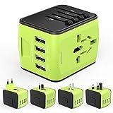 Adaptador Enchufe de Viaje HUANUO Universal Enchufe Adaptador Internacional con Dos Puertos USB para Más de 150 Países,100 ? 240 V AC, con Seguridad I