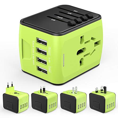 HUANUO Reiseadapter Reisestecker Steckdose Adapter Stromadapter mit 4 USB Aufladung Reise Stecker universal einsetzbar für 150 Ländern z.B. Europa USA Australian UK usw,