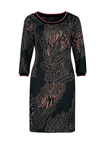 Expresso Beer Damen schwarzes Kleid mit Tiger-Print und Einer Länge bis knapp zum Knie, Schwarz, 42 -