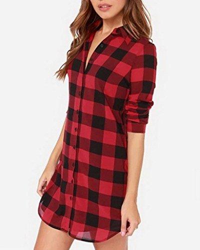 Smile YKK Femme Vogue Chemise aux Carreaux Manche Longue Shirt Blouse Rouge