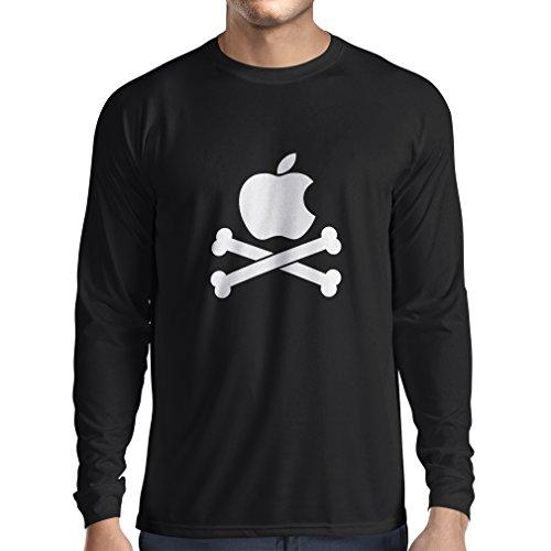 N4269L T-Shirt mit Langen Ärmeln Lustiger Apfel und Knochen (Medium Weiß)