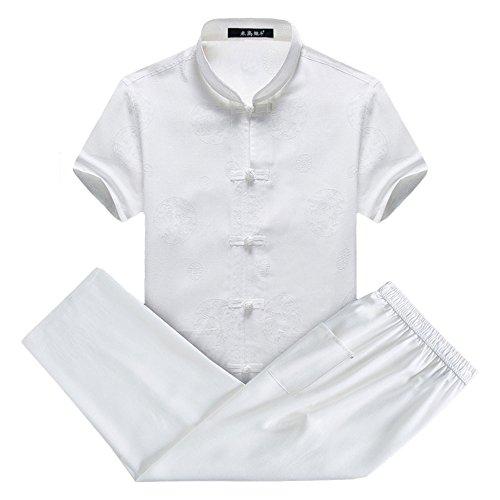 G-like Klassische Kleidung China-Tang Anzug - Traditionelle Chinesische Kostüme Männliche Kampfkunst Tangzhuang Kung Fu Tai Chi Kurzärmelige Jacke Anzüge Hemd Hose Uniform (Drachen-Weiß, (China Kostüm Männlich)