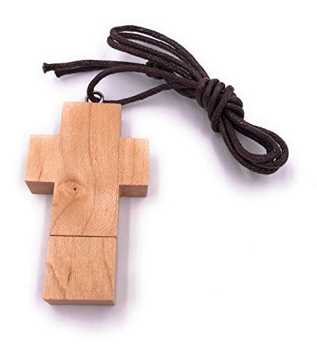 H-Customs Holz Kreuz USB Stick 8 GB Speicher USB 2.0