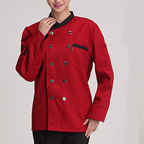 Zhhlinyuan Unisex Classic Long Sleeve Chef Uniform Advanced Work Clothes 3 Colors red