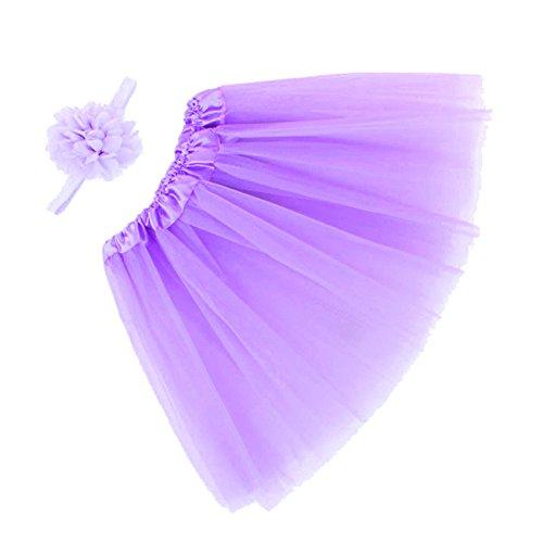 Tenchif Neugeborene Baby Fotografie Stab Baby Ballettröckchen Rock Kleid Ausstattungen und Blumen-Stirnband (Elsa Kostüme Für Baby)