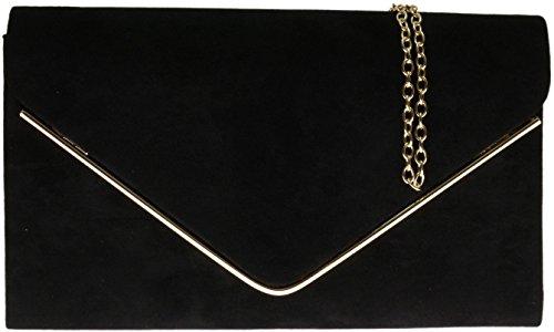 hg-ladies-faux-suede-clutch-bag-envelope-metallic-frame-plain-design-black