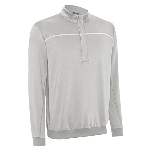 Ashworth Performance EZ-SOF Wind-Lined Half Zip Thermal Sweater Mens Golf Pullover Pebble Small - Ashworth Herren Pullover