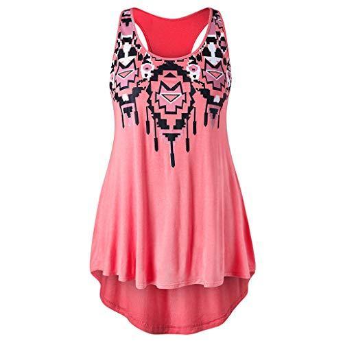 NEEKY Bluse Damen T-Shirt Hemd Pullover Sweatshirt Schulterfrei Oberteil Sommer Tops Weste - Mode Frauen beiläufige ärmellose Oansatz Plus Größe Racerback Tribal Print Tank Top -