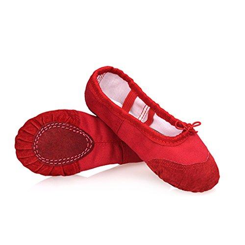 DoGeek Gute Qualität Ballettschuhe weich Spitzenschuhe Ballet Trainings Schläppchen Schuhe für Mädchen/Damen in den Größen (Body Kostüme Rot)
