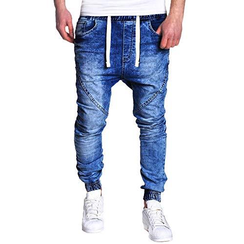 TANLANG Tangang Herren Stretch Taille Jeans Slim Stretch Jeans Sport Hose mit Kordelzug Reißverschluss Tasche Jeans - Blau - XX-Large -