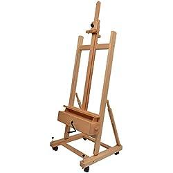 Artina Chevalet professionnel d'atelier « Pisa » en bois de hêtre - Stable - 4 roulettes - Pratique - Inclinaison réglable