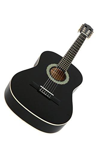 NAVARRA Konzertgitarre 4/4 schwarz mit cremefarbigen Randeinlagen und leicht gepolsterter Tasche mit Rucksackriemen und Notenfach, 2 Plektren - 2