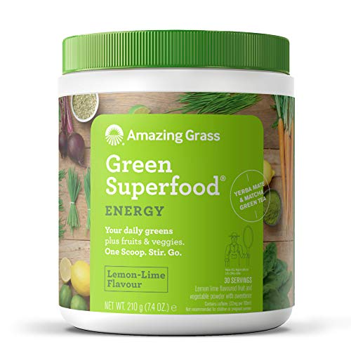 Amazing Grass Green Superfood: 7 Super Greens Powder, 2 servings of Fruits & Vegetables per scoop, Lemon Lime Flavour, 30 Servings