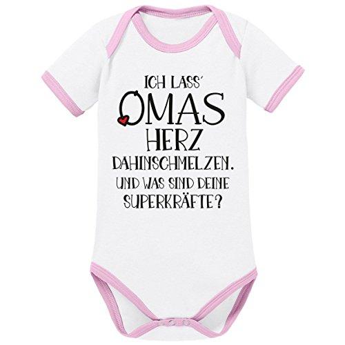 Mikalino Babybody Ringer Ich Lass Omas Herz dahinschmelzen. aus Bio-Baumwolle (Organic), Grösse:62, Farbe:Weiss-rosa -