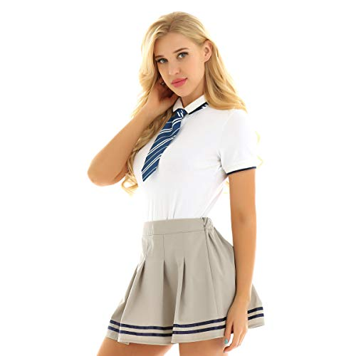 Freebily Damen Schuluniform Cosplay Kostüm Schulmädchen Anzug Kurzarm Strampler mit Mini Faltenrock und Krawatte Khaki & Weiß Large -