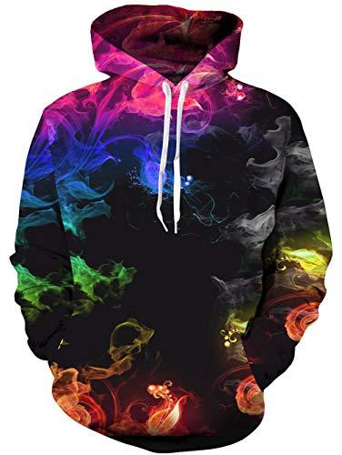 TUONROAD Unisex 3D Gedruckt Hoodie Kapuzenpullover Sweatshirt Mehrfarbig Diamanten Grafik Langarm Sweatshirt Pullover Top Jumper Diamant Pullover