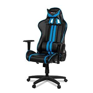 Arozzi Medio Silla Gaming, Piel sintética, Negro Azul, 70x 60x 90cm, 5Unidad
