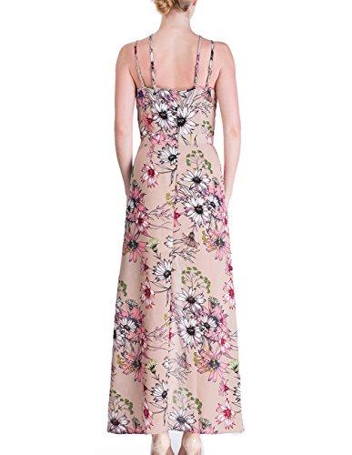 Beach signore vestito maxi abito senza maniche lunghi abiti estivi nastro alla nuca con asimmetrico Boemia profondo scollo a V vestito stampa floreale Beige