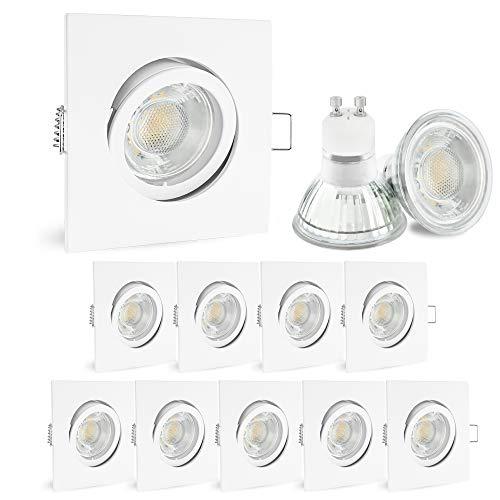 linovum® 10 Stück LED Einbaustrahler warmweiß 230V - mit 6W GU10 Lampe 2700K wechselbar - Einbauspots eckig weiß schwenkbar