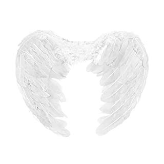 Kids Feathered Fancy Dress Angel Fairy Cherub Wings (White) by Robelli