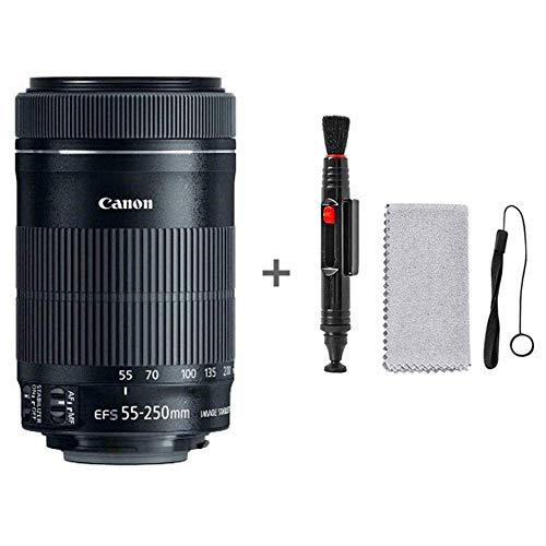 Canon 55-250 mm f/4-5.6 55-250 mm is STM, Noir + kit de Nettoyage (Chiffon d'objectif, Stylo) et Corde Anti-Perte