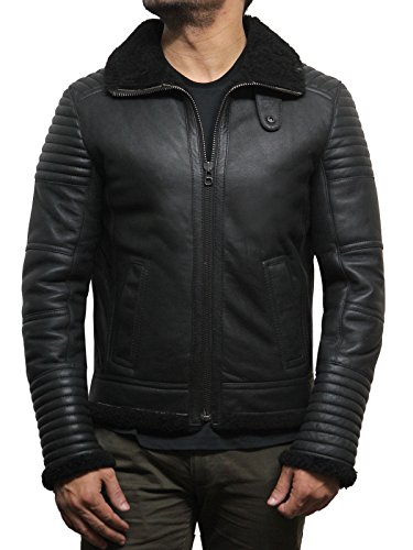 Brandslock Herren Luxus schwarz Schaffell Aviator Flying Jacket Ideal für den Winter neuesten Design (3XL, SCHWARZ)