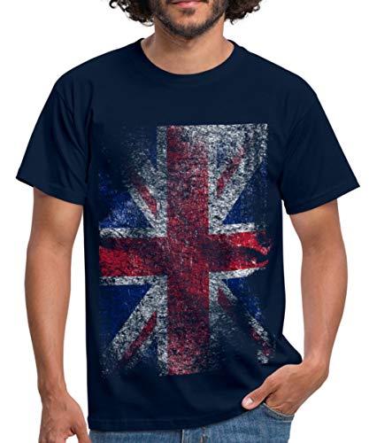 Spreadshirt Union Jack Used Look Männer T-Shirt, XXL, Navy -