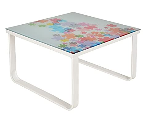 ts-ideen Table console d'appoint en verre puzzle
