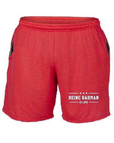 Cotton Island - Pantalone Tuta Corto BEER0183 Being-Barman-is-life-Magliette Rosso