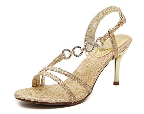 YCMDM Chaussures à talons hauts au diamant à talon haut Gold