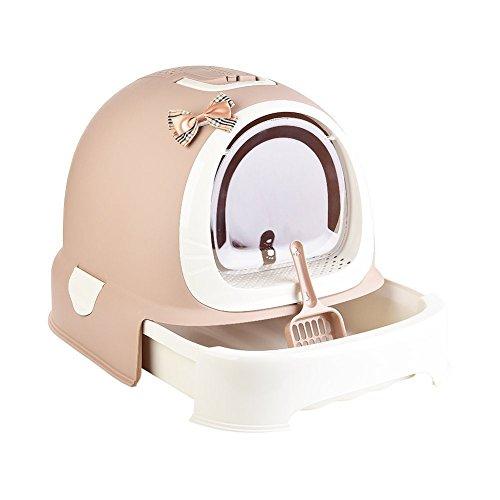 Etbotu completamente chiuso drawer-style gatto WC box Deodorizzazione lettiera di schizzi bacino Pet Supplies Pink