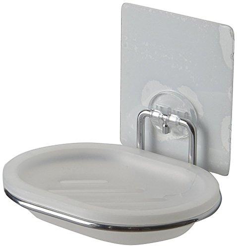 Compactor acero cromado extraíble y soporte para el jabón, Plateado/blanco
