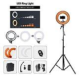 Grandekor Ringlicht LED 14 Zoll LED Ringlicht Kit Dimmbar Ringleuchte Set 40w 5500K Selfie Ring Licht mit Lampestativ Handy Stativ Bluetooth Für YouTube