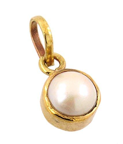 Malabar Gems Lab Certified 5.25 Ratti / 4.72 Carat Pearl Pendant, Moti Locket in Panchdhatu