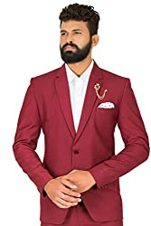 KapdaKing Mens Slim Fit Maroon Blazer (with Pant Pcs. & Broach)