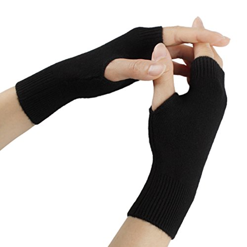 Drucken Fingerlose Handschuhe (Larcele Kaschmir Damenwärmer Fingerlose Handschuhe BZST-02 (Schwarz))