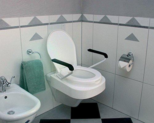 Toilettensitzerhöher Relaxon Star | Premium Toilettensitz Mit Deckel | Gepolsterte Armlehnen | 3 Fach Höhenverstellung