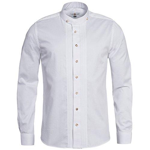 Almsach Herren Trachten-Mode Trachtenhemd Regular Fit mit Biesen in Weiß Traditionell, Größe:XL, Farbe:Weiß