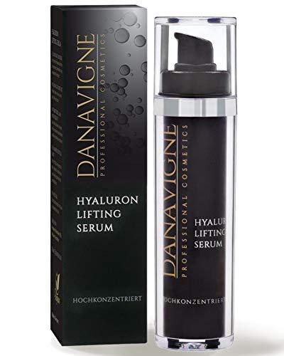 DANAVIGNE Reines Hyaluron Serum hochkonzentriert - Straffendes Anti Aging Gel mit Hyaluronsäure - Antifalten Soforteffekt - Lifting Serum für Augen, Gesicht, Hals und Dekolleté - 1er Pack (1 x 50 ml)