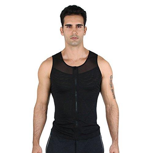 HOTER Mens abnehmen Body Shaper Weste/T-Shirt mit Reißverschluss für die Umsetzung leicht ein- und ausschalten (Brust-komprimierung-shirts)