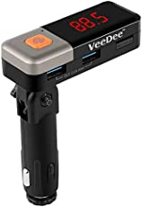 VeeDee BC11 Car Bluetooth Receiver FM Transmitter, Stereo Adapter, MP3 Player with Dual Charger