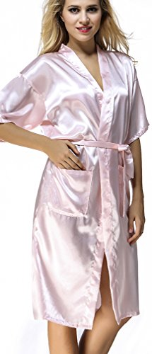 FLYCHEN Sexy Femme Long Peignoir Soyeux Robe de Nuisette Sleepwear Deshabille Couleur Unie Rose-4