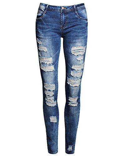 SaiDeng Donne Skinny Stirata Pantaloni Vita Alta Jeans del Foro Blu M