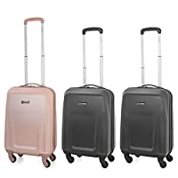 5 Cities Lightweight ABS Hard Shell Carry On Cabin Hand Luggage Suitcase with 4 Wheels, Approved for Ryanair, Easyjet, British Airways, Virgin Atlantic and More, Rose Gold (1 x Rose Gold + 2x Black)