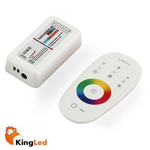 KingLed - Kit Controller per Strip RGBW con Segnale WIFI composto da Telecomando con Comandi Full Touch e Ricevitore Wireless 2.4GHz da 18Amper per il controllo di Striscia Multicolore RGB+W 12V e 24V, cod. 1126