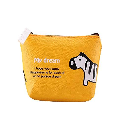 Sanwood Frauen Tieren Leinwand Zip Beutel Münzen Schlüssel Geldbeutel Kasten Handtasche (Gelb)