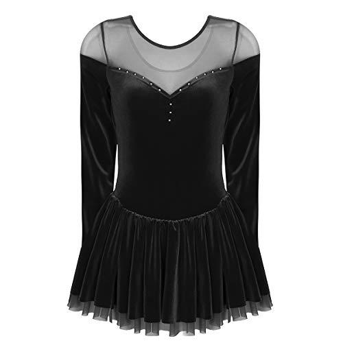 CHICTRY Vestido de Patinaje Artístico Mujer Chica Vestidos Terciopelo Vestido Ballet Danza Gimnasia Leotardo Manga Largo para Mujer Negro Small