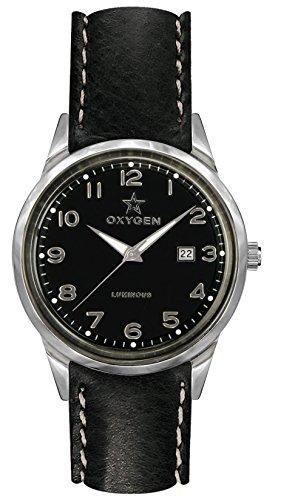 OXYGEN - EX-SV-MAM-40-CL-BL - Montre Mixte - Quartz - Analogique - aiguilles luminescentes - Bracelet Cuir Noir