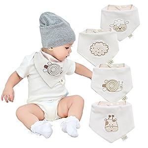 Bandanas-bebe-baberos-para-nios-y-nias-de-4-pack-100-algodn-suave-y-absorbente-hipoalergenico-y-bordado-bebe-unisex-bebe-denticion-baberos-Baba-baberos-para-recin-nacidos-lactantes-y-nios-pequeos-baby